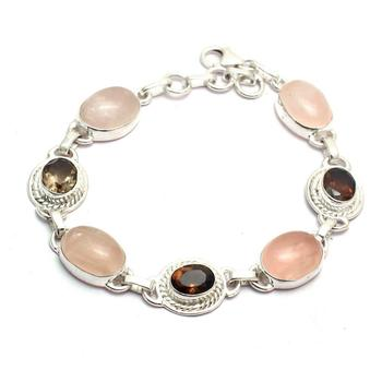 Genuine Rose Quartz + Smokey Quartz Bracelet 925 Sterling Silver, 21 cm, 2SBR0061