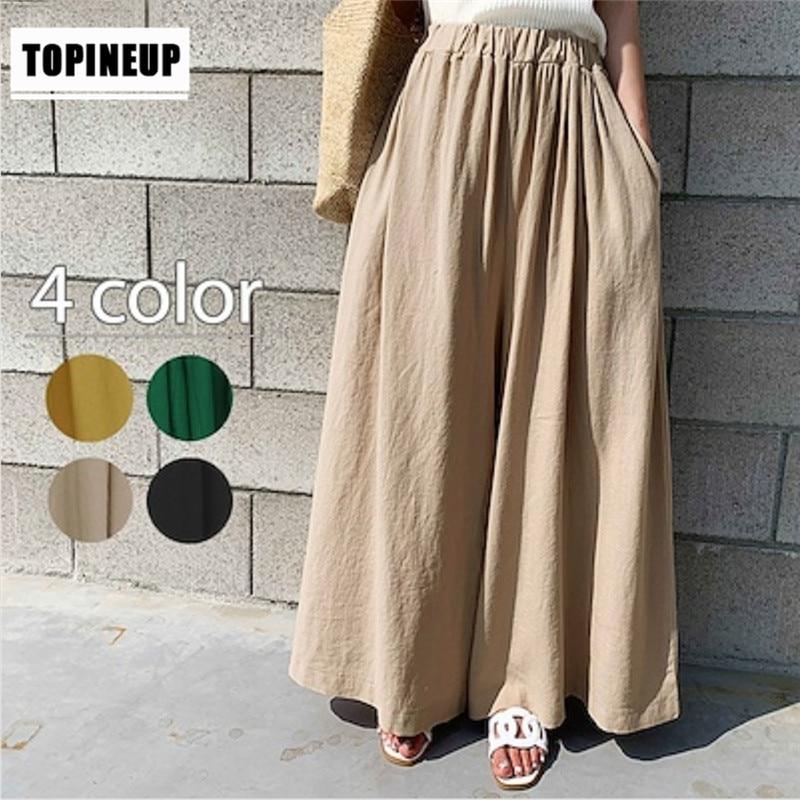 Casual Cotton Linen High Waist Straight   Pants   for Women Wide Leg   Capris   Trouser Spring Summer Ankle-length   Pants   Female