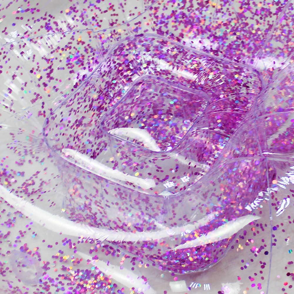Outdoor Coriandoli Glitter Gonfiabile Lettino Lazy Bag Divano Aria Impermeabile Rose Gold Glitter Poltrona Gonfiabile Letto Aria Sacco A Pelo