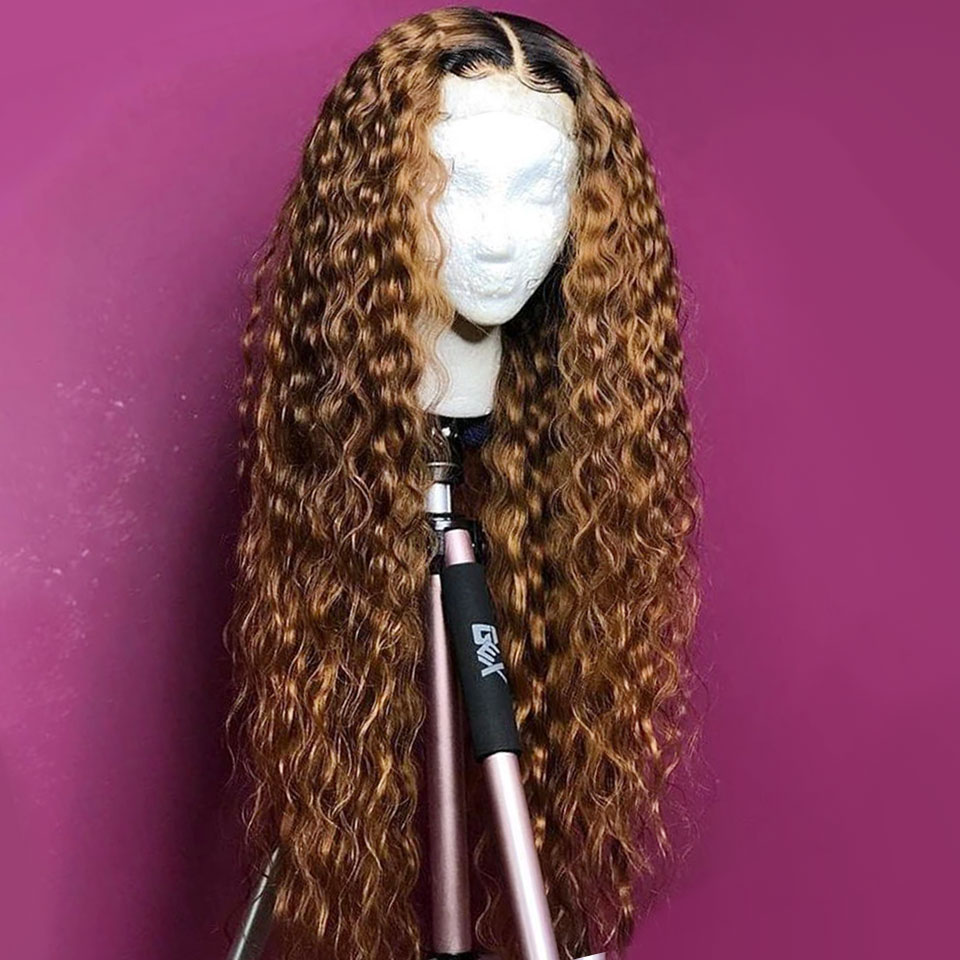 Kinky Curly Ombre T1B/27 Color 360 Lace Front Human Hair Wig for Black Women Remy Hair Wig Pre Plucked Bleached Knots Baby Hair