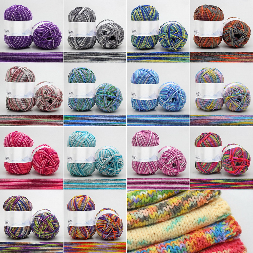 4 Section-Dyeing Middle-Thick Milk Cotton Soft Baby Yarn For Hand Knitting 50g/ball Crochet Baby Woolen Thread