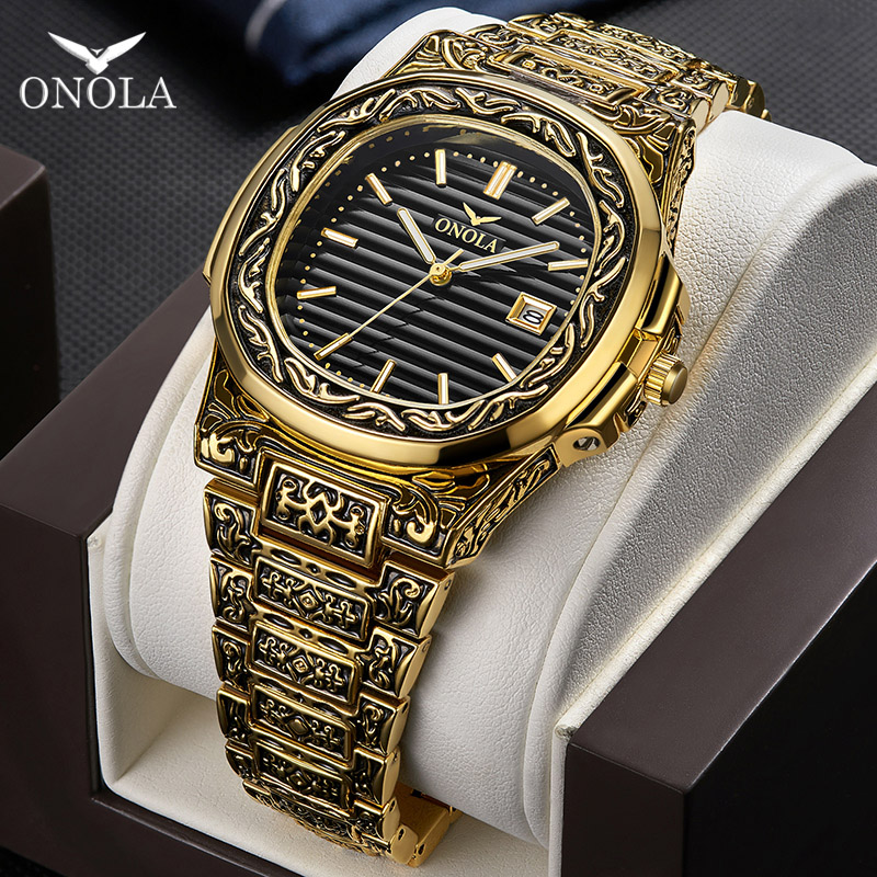 ONOLA Brand Vintage Golden Watch Male 2019 Fashion Cusual Quartz Wrist Watch Day Date Gold Luxury Classic Designer Man Watch