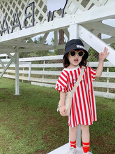 Cute girl sports style straight dress letter vertical striped short sleeve dress summer 2 to 6 years old children's clothing open shoulder mini vertical striped dress