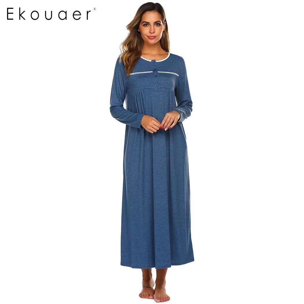 Ekouaer Women Maxi Nightgown Autumn Nightwear Dress O-Neck Long Sleeve Solid Loose Nightdress Chemise Sleepwear