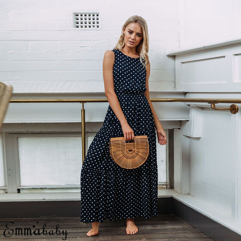 H365810e540904253902cbd1c9064ec13D 2019 Bobo Women Dark Blue Boho Loose Sleeveless Holiday Dot Print Long Maxi Dress Evening Party Beach Dresses Summer Sundress