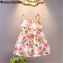 Waiwaibear Summer Baby Kids Girls Dresses Sleeveless  Costumes Beach Dress girls party dress
