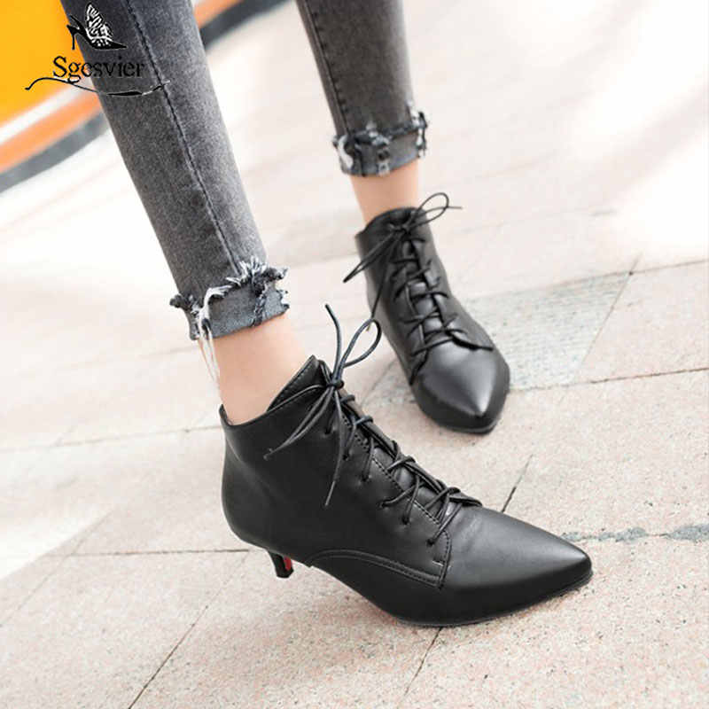 Sgesvier New Fashion women pointed toe lace-up med heel ankle boots lady solid thin heel short boots black red Size 33-46 B882