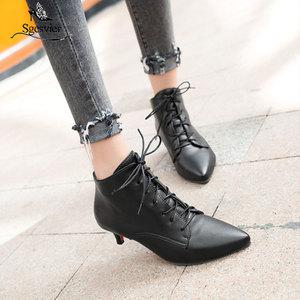 Image 1 - Sgesvier nowa moda kobiety pointed toe sznurowane med heel botki lady stałe cienki obcas krótkie buty czarny czerwony rozmiar 33 46 B882