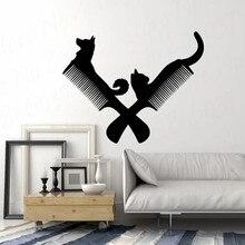 Art Vinyl Wall Decal Pet Grooming Beauty Salon Comb Dog Cat Animals Mural Wall Sticker WL1888 dog 56 cute paw heart wall sticker creative cartoon cat dog lover vinyl wall decal home