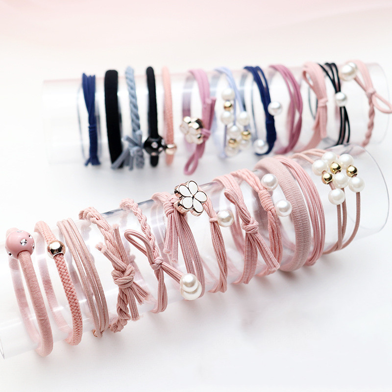 12Pcs/Set High Elastic Hair Bands Solid Pearl Stretch Hair Ties For Women Girls Ponytail Holder Hair Ropes Gum Hair Accessories