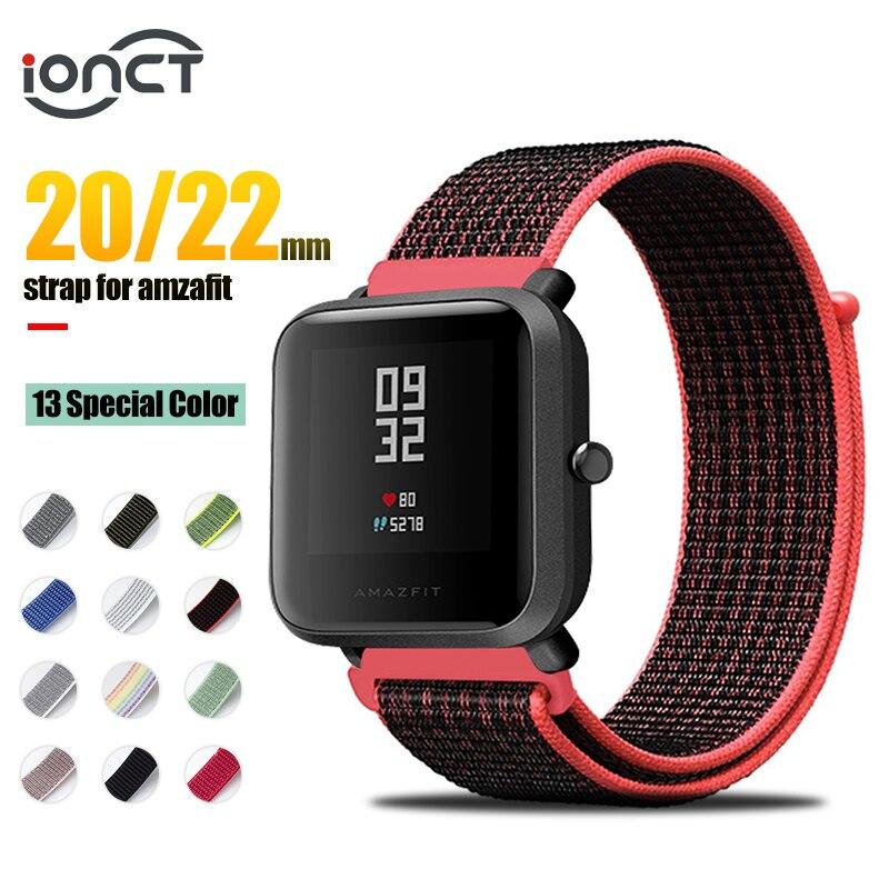 IONCT Nylon Sport Strap For Xiaomi Amazfit Bip Strap Watchband For Huami Amazfit Pace Stratos 2 GTS GTR 42 47 MM Strap Bracelet