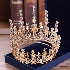 Новинка, модные элегантные круглые хрустальные тиары и короны, принцесса, королева, маскарад, диадема, ноива, невесты, свадебные украшения д...