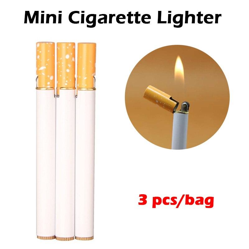 (No Gas) 3 Pcs Outdoor Mini Compact Jet Butane Lighter Metal Windproof Flint Cigarette Shaped Inflatable Gas Lighter