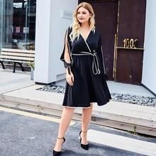 2019 New Autumn Large size Women Dress Sexy Deep V-neck Big Size Loose Hollow out Casual Long sleeve Black Plus