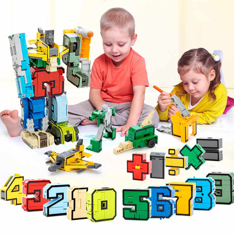 DIY Transformation Number Robot Figures City Creative Bricks Deformation Legoings Blocks Early Educational Toys for Children