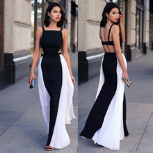 Long Maxi Dress Elegant Sexy Sleeveless Backless Patchwork Dress 2020 Summer Casual Loose Party Dres