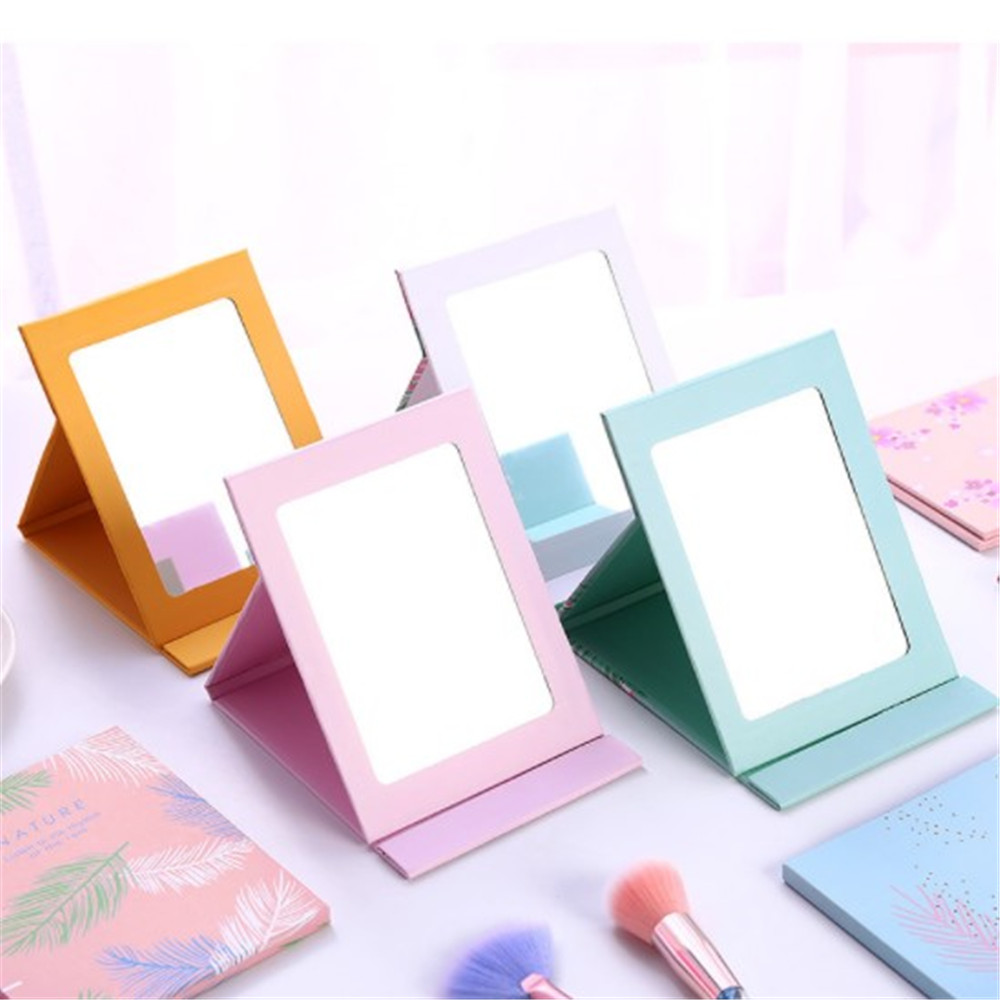 1 pièces coréen bureau princesse pliant miroir Portable dessin animé dortoir papier miroir cosmétique miroir maquillage outils