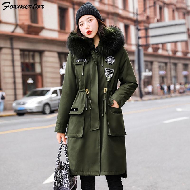 2019 зимняя куртка женская верхняя одежда парка с меховым воротником и капюшоном длинные пальто с хлопковой подкладкой женские теплые утолщенные куртки Feminina