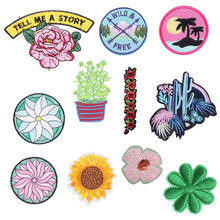 Plant Flower Embroidered Patches on Heat Transfer Appliques Tree Patch Clothes Letter Badge Stickers for Backpack Printed Stripe
