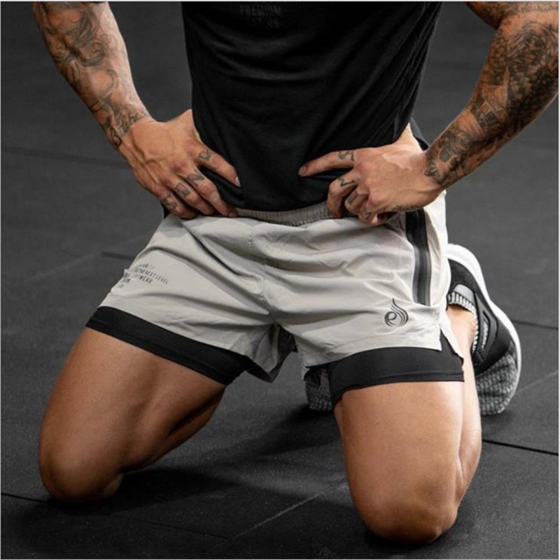 2020 Summer fitness double shorts men's quick dry breathable stretch training pants Brother mesh running shorts