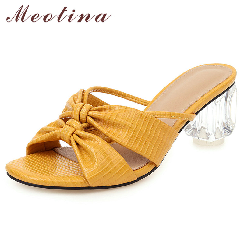 Meotina Summer Slides Women Shoes Elegant Bow Thick High Heel Shoes Transparent Cutout Open Toe Slippers Lady Sandals Size 34-43