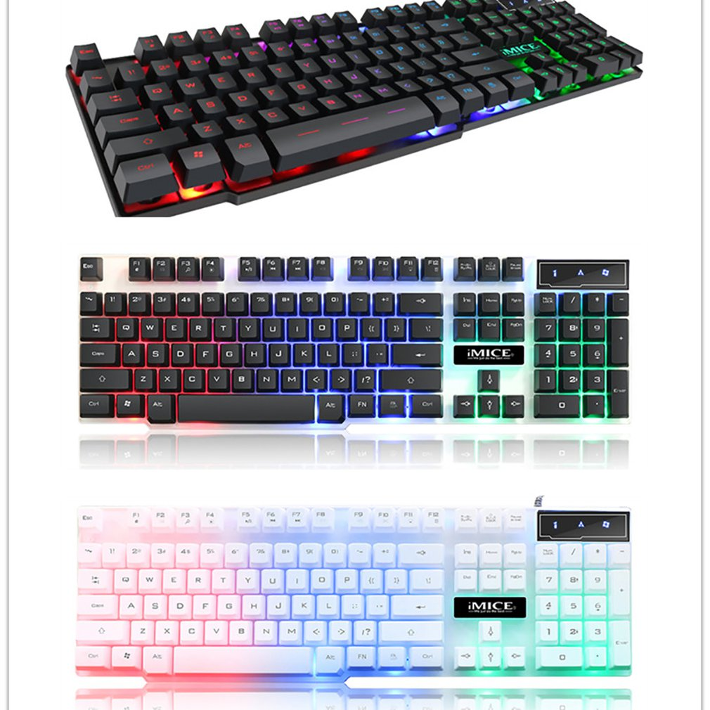 IMice Gaming Keyboard 104 Keycaps RGB Backlit Mechanical Feeling Keyboard Game Keyboards With RU Sticker For PC Laptop Computer