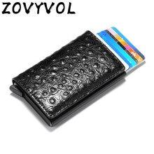 Zovyvol fino titular do cartão de crédito titular ocasional protetor de cartão inteligente caso caixa de metal rfid alumínio unisex id titular wholsale