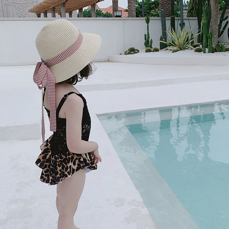 Lace-up Sexy Leopord Pattern GIRL'S One-piece Swimming Suit Multilayer Skirt CHILDREN'S Swimwear Small Children Hot Springs Swim