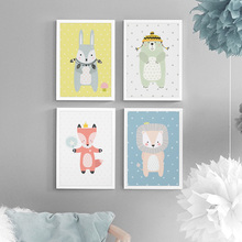 Cute Cartoon Bear Rabbit Fox Lion Nordic Posters And Prints Nursery Wall Art Canvas Painting Pictures Baby Kids Room Decor