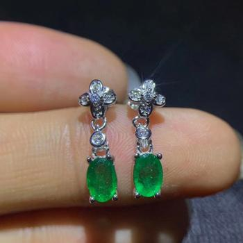 classic green Emerald  gemstone stud earring for women with silver fine jewelry natural gem  925 sterling silver girl date gift