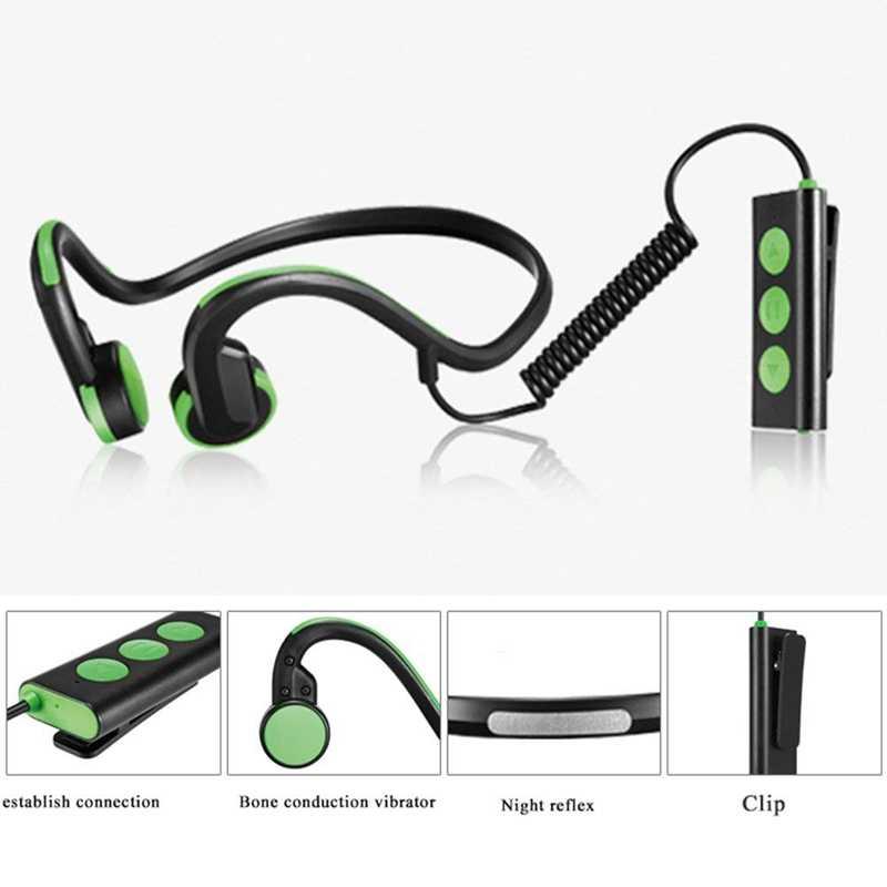 Słuchawki Bluetooth, słuchawki kostne bezprzewodowe słuchawki Bluetooth do biegania, jazdy na rowerze, siłowni, podróży (zielony)