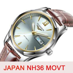GUANQIN الياقوت التلقائي ساعة ميكانيكية الرجال اليابان NH36 حركة العلامة التجارية الفاخرة الرجال الساعات مقاوم للماء Relogio Masculino