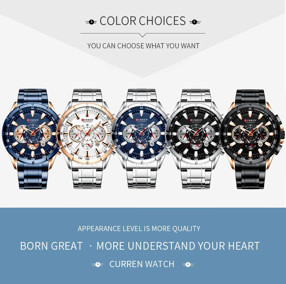 Curren moda causal esportes relógios masculinos banda