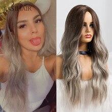 EASIHAIR-Peluca de cabello sintético para dama, cabellera artificial ondulado largo con degradado, color marrón a gris, resistente al calor, uso diario