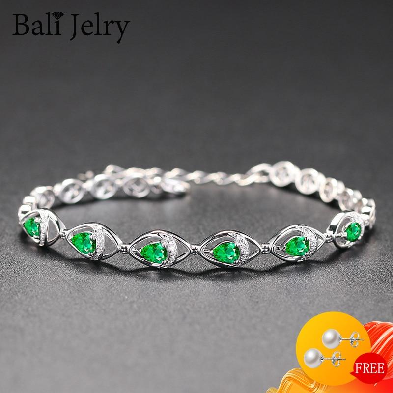 BaliJelry luksusowe kobiety bransoletka ze srebra próby 925 biżuteria w kształcie kropli wody szmaragd kamień akcesoria mody ślub zaręczyny
