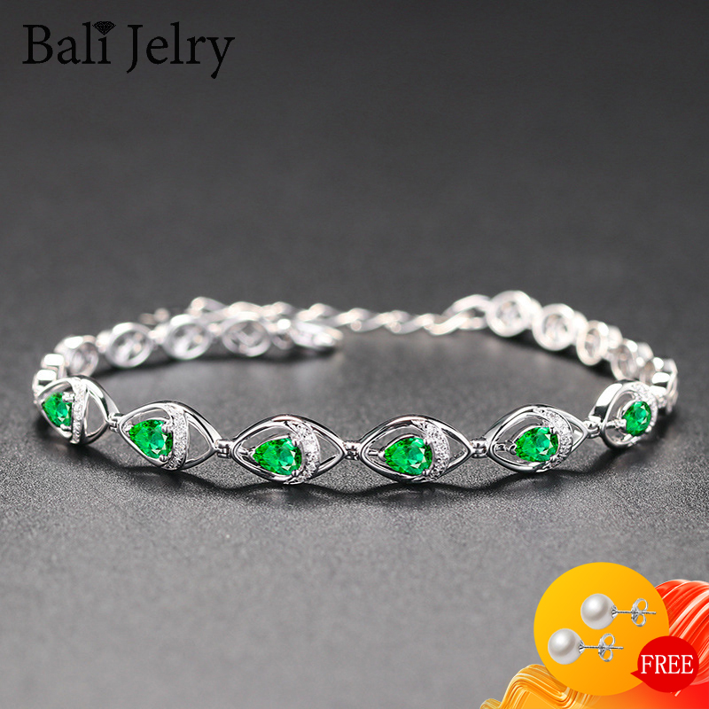 Luxury Women Bracelet 925 Silver Jewelry Water Drop Shaped Emerald Gemstone Fashion Accessories Wedding Party Engagement Gift