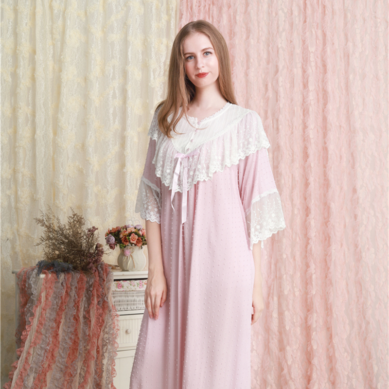 Home Dress Women Sleepwear Lace Cotton Nightgown Romantic Long Nightgowns Plus Large Size Lady Night Gown