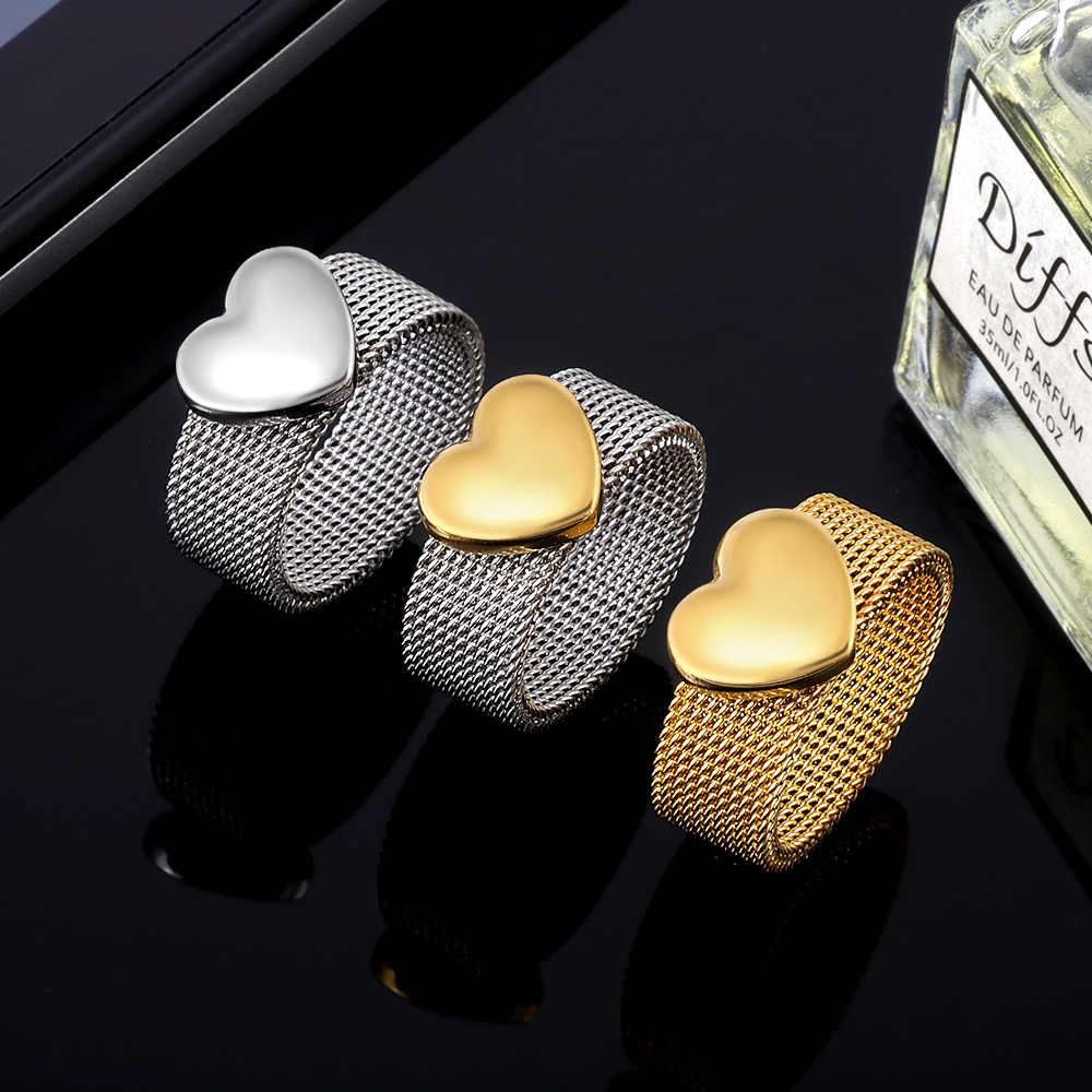 New Fashion Reticulate Love Heart Charm Men Women Charm Rins Soft Stainless steel Round OL Wedding Party Finger Jewelry(China)