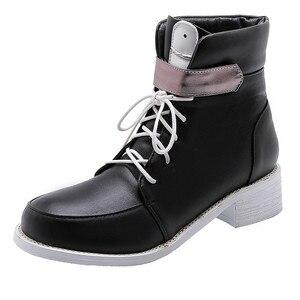 Image 3 - MORAZORA 2020 nowe modne buty motocyklowe pu okrągłe toe zasznurować jesień casual klamerka do butów zip wygodne botki do kostki dla kobiet