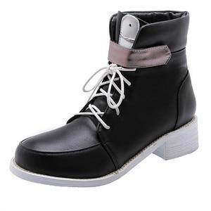 Image 3 - MORAZORA 2020 موضة جديدة للدراجات النارية أحذية بو جولة تو الدانتيل يصل الخريف حذاء كاجوال مشبك البريدي مريحة حذاء من الجلد للنساء