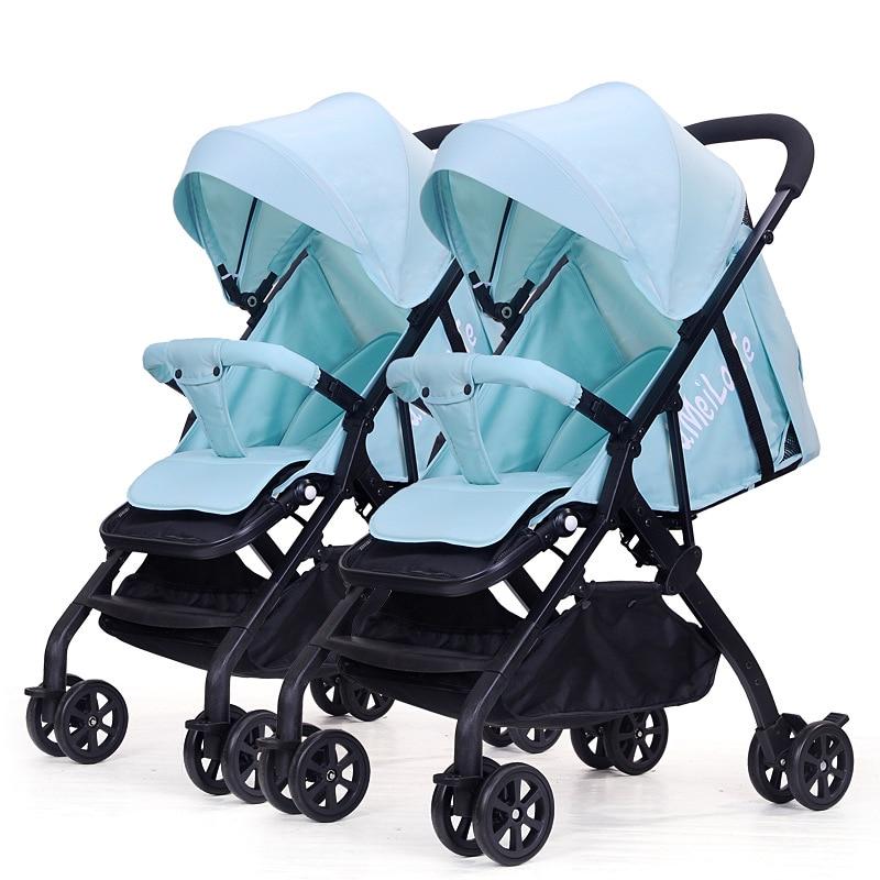 High landscape Aluminum alloy Twin Baby Stroller Detachable Light Can Sit lie Folding Shock Absorber Double Cart NewbornCarriage