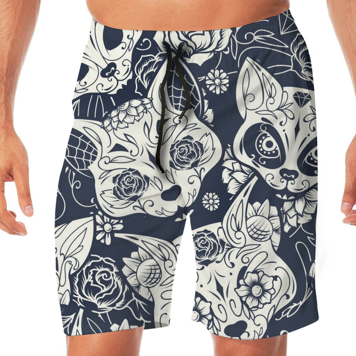 Day Of The Dead Sugar Cat Skull Floral Swimming Shorts For Men Swimwear Man Swimsuit Swim Trunks Summer Bathing Beach Wear