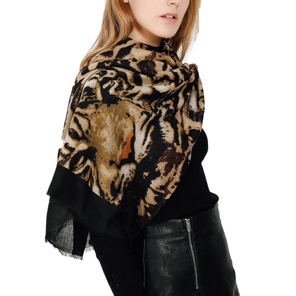 2020 New Autumn Winter Women Winter Warm Colored Tiger Leopard Shawl Collar Ladies Long Printing  Scarf Breathable Scarf #1002