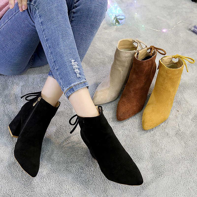 2019 Kadın yarım çizmeler Sarı Renk Ayakkabı Kadın zip Çizmeler Seksi Yüksek Topuklu yarım çizmeler kadın ayakkabısı Patik V254