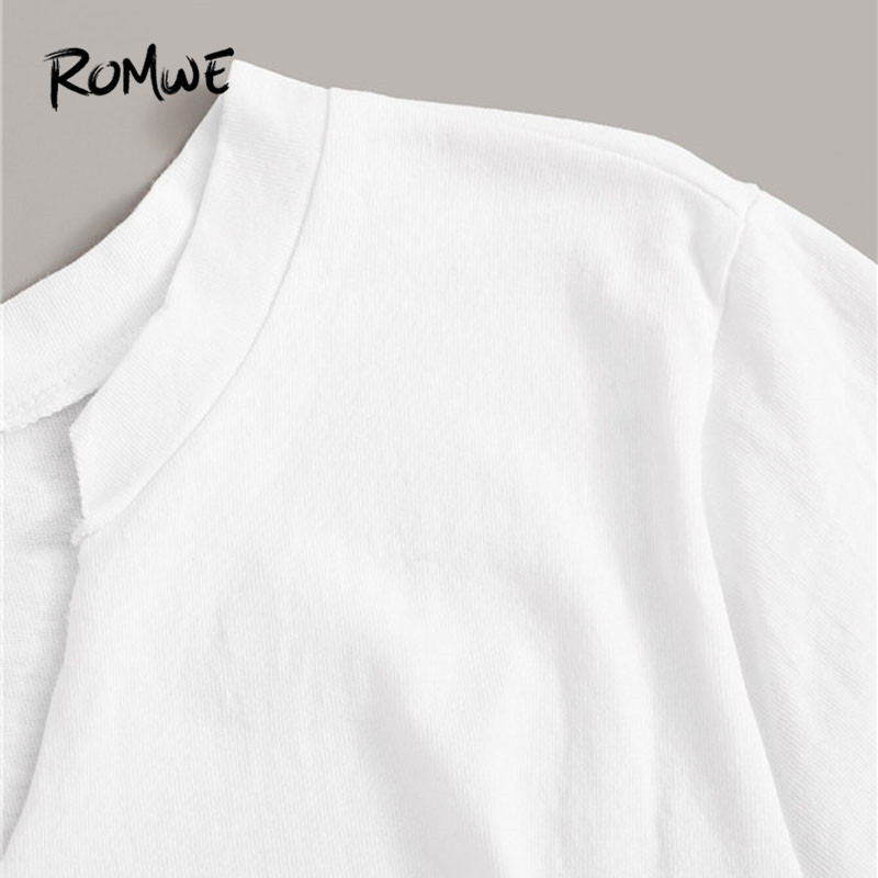 Image 3 - Romwe Sporty Letter Print Knot Front Tee and Cargo Pants 2 Piece Set Women Jogging Activewear Casual White Tee Matching Set-in Running Sets from Sports & Entertainment on AliExpress