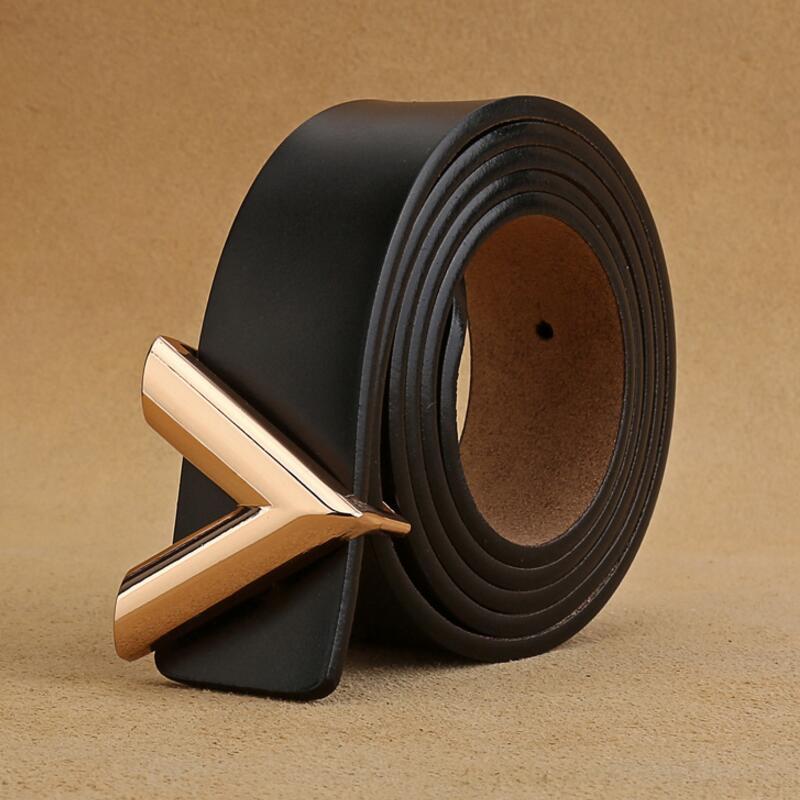 New Designer Men's/Women Luxury Belt Genuine Leather Alloy V Buckle Waist Belts High Quality Fashion Women Belts GiftsWaistband