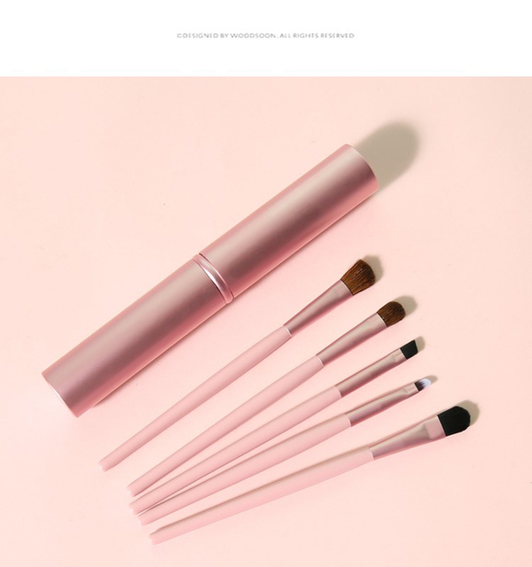 New 5pcs Professional Travel Portable Mini Eye Makeup Brushes Set Smudge Eyeshadow Eyeliner Eyebrow Brush Lip Make Up Brush kit 2