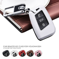 Leather Cowhide Remote Smart Key Fob Cover Case For Volkswagen VW Arteon Tiguan MK2 Passat B7 B8 CC For Skoda Superb A7|Key Case for Car| |  -