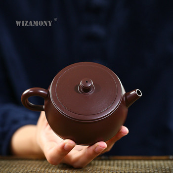 WIZAMONY Yixing Clay Teapot Masters Handmade Raw Ore Purple Red Clay Well Curb Tea Pot  Making Agent  purple clay teapot