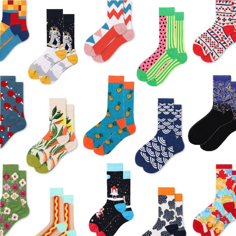 5 Pair/Lot Happy Socks Funny Art Womens Men Colour Crew Cotton Short With Print Casual Harajuku Fuzzy Socks Fashion Japanese
